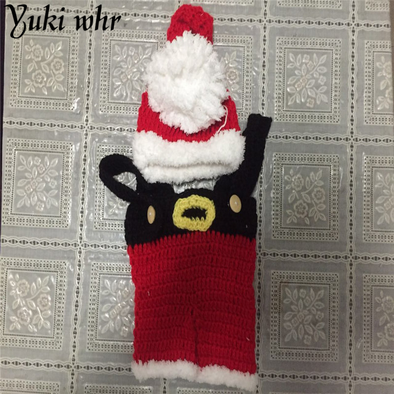 Newborn Baby Christmas Santa Photo Photo Crochet Point Proposition Charming Costume Hats Suits For 0-6 month Hot Child Sale