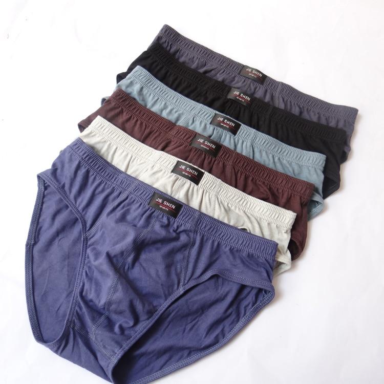 Mens Briefs 100% Cotton Plus Size Men Underwear  L/XL/XXL/XXXL/4XL/5XL Men's Breathable Panties 1PCS