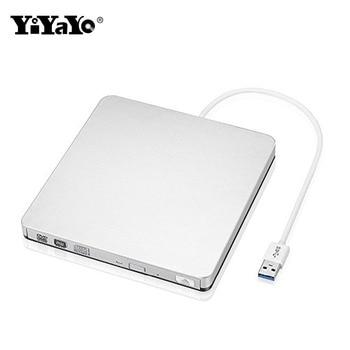 YiYaYo Внешний USB 3,0 CD/DVD RW CD Встроенная память оптический привод Ultra Slim портативный/горелки для оконные рамы 10 MAC OS linux