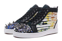 Модные мужские кожаные туфли в стиле граффити высокого качества с серебряными шипами, мужские туфли на шнуровке в повседневном стиле
