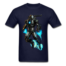Blue T-shirt Men T Shirts War Machine Iron Man Marvel Tops Printed Tees 2018 New Fashion Young Tshirt 100% Cotton Streetwear цена и фото