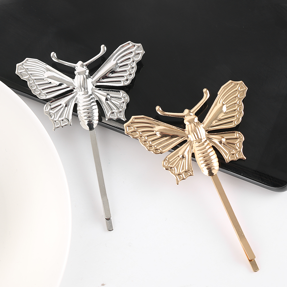 Butterfly hair accessories for weddings uk - 1pc Women Lady Gold Silver Butterfly Leaf Hairpin Golden Clip Boho Barrettes Hair Accessories Wedding