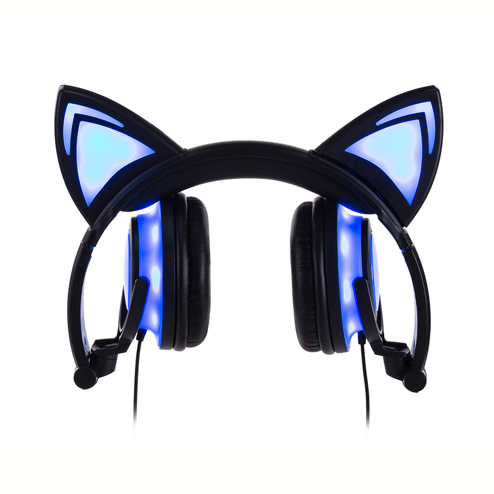 JINSERTA 2019 Cat Ear headphones LED Ear headphone cat earphone Flashing Glowing Headset Gaming Earphones for Adult and Children in Headphone Headset from Consumer Electronics