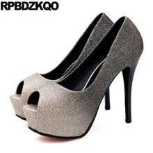 b56a7ba21 Peixe Boca Extremo Verão Ouro 12cm 5 Pulgada Mulher Brilho Bling Super  Espumante Sapatos Scarpin Lantejoulas