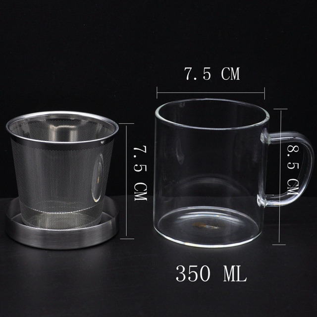 Glass Tea Cup,350~450ml,Strainer Of 304 Stainless Steel,Flower Tea Cup,Coffee Cup