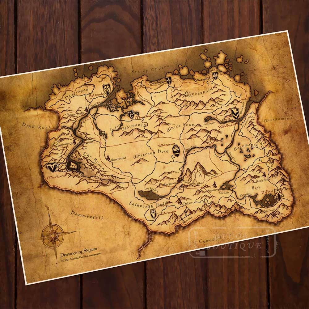 Skyrim Map The Elder Scrolls V Game Classic Retro Vintage Canvas Painting Poster DIY Wall Paper Posters Home Decor Gift image