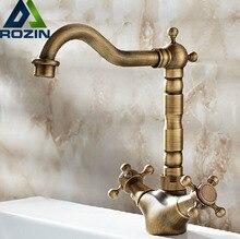 Antique Brass Bathoom Kitchen Faucet Swivel Spout  Dual Cross Handles Deck Mounted Lavatory Sink Mixer Taps