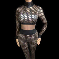 Black White Rhinestones 3D Plaid Printing Jumpsuit Sexy Big Elastic Bodysuit Nightclub Bar Female Stage DJ Singer Dance Costume