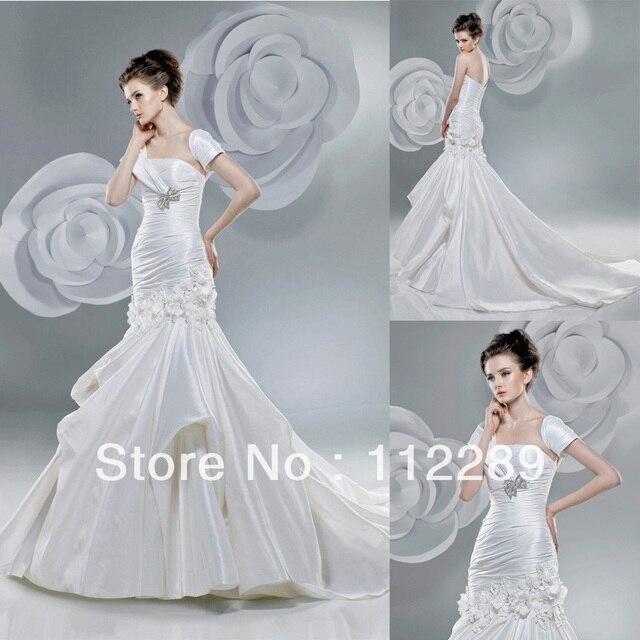 Elegant Off White Short Sleeve Mermaid Chapel Train Japanese Bridal ...