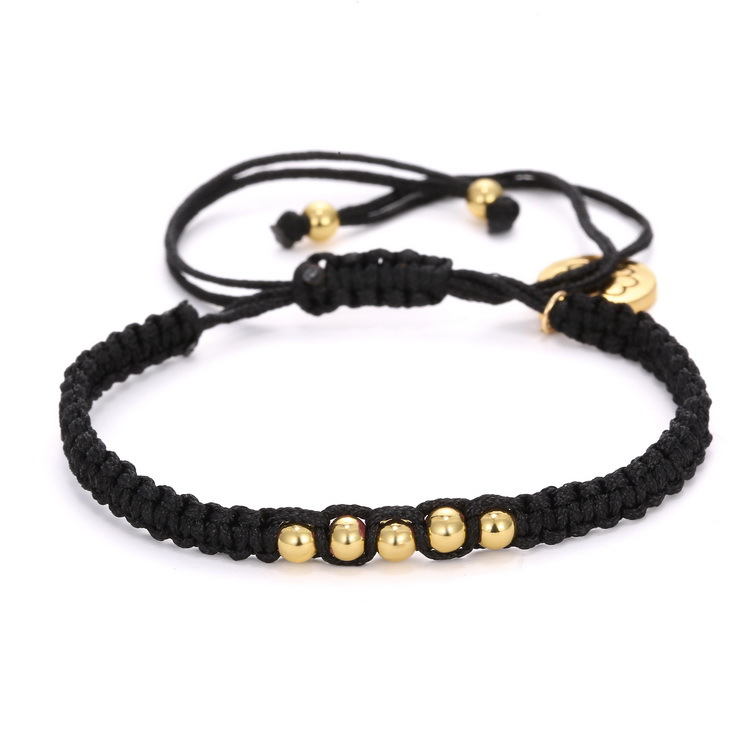 Detail Feedback Questions About Black Rope Hand Braided Macrame Bracelet Small Round Clover Beads String Braclet For Women Male Armband Jewelry Accessories