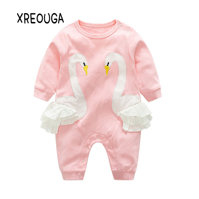 67cc2261102b Newborn Baby Boys Clothes Cotton Baby Girls Rompers Swan Style
