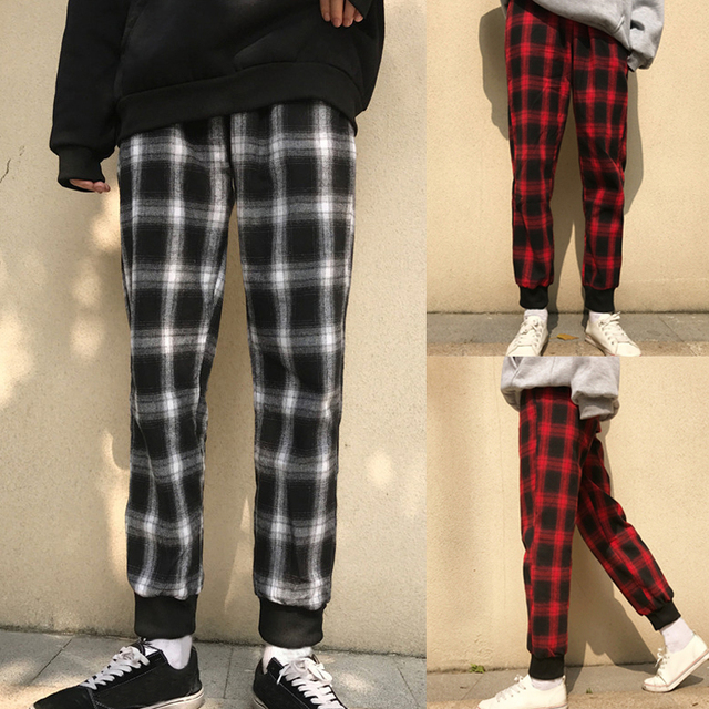Podom Casual Black Red Plaid Harem Pants Men Slim Fit Joggers Track