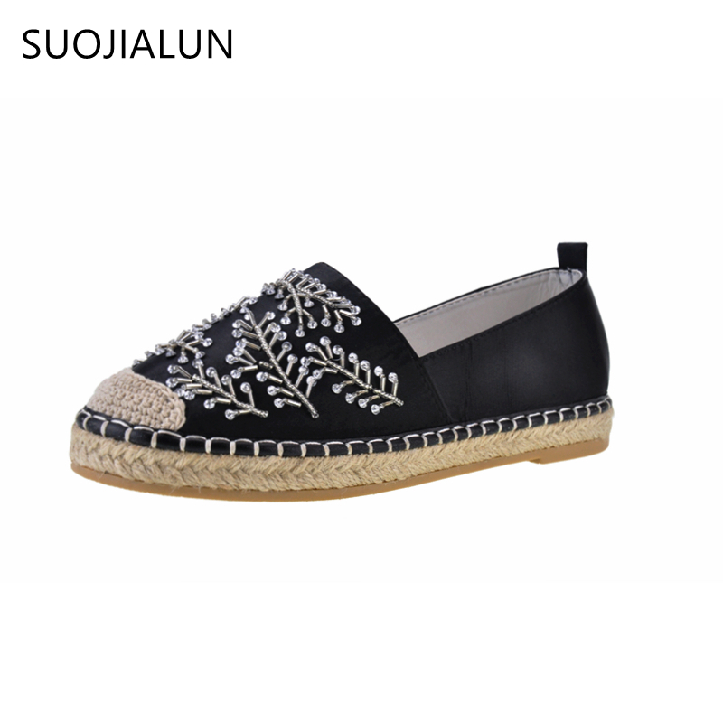 SUOJIALUN New 2017 Women Slip On Loafers Casual Round Toe Flat Shoes Spring Bead Shoes Moccasins Flats Platform Female women loafers casual shoes female round toe slip on wide shallow flats lady shoes oxford spring summer shoes for women or910314