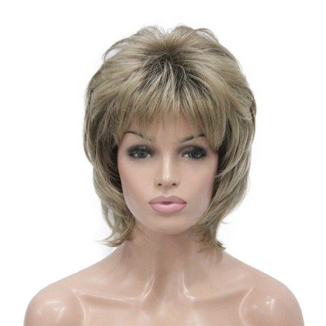 StrongBeauty נשים סינטטי פאה קצר שיער ערמוני/בלונד טבעי פאות בלי כומתה שכבות תסרוקות