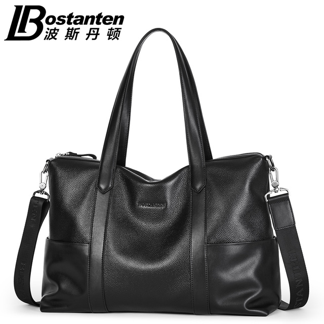 Bostanten Men S Genuine Leather Cowhide Handbags Shoulder Bag Tote Messenger Zipper Fashion Male Hobos