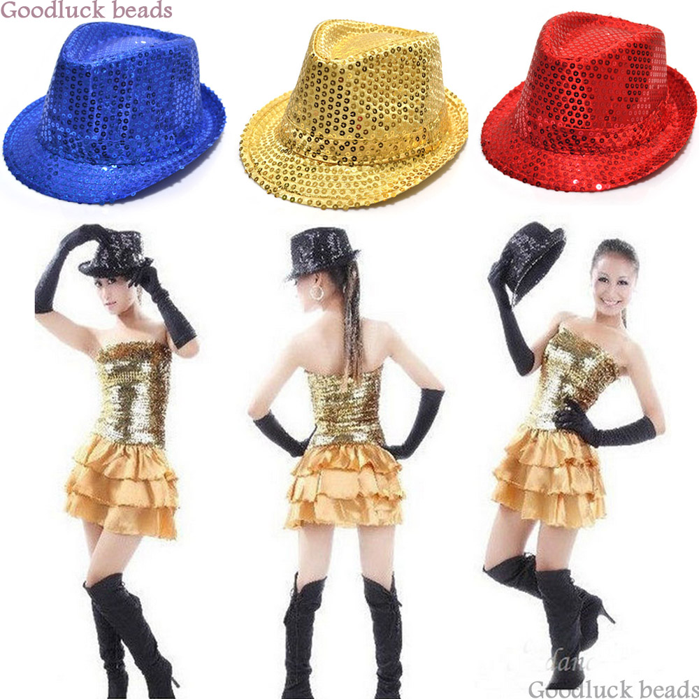 Unisex Kid Adult Glitter Sequins Hat Jazz Dance Show Cap Costume Head Acc For Men Women XMAS Mardi Gras Dancing Show Party