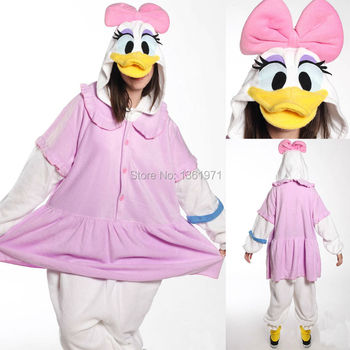 Winter Women Adults Animal Pink Yellow Donald Daisy Duck Pajamas Onesies Christmas Halloween Valentine Cosplay Costumes Homewear pajamas