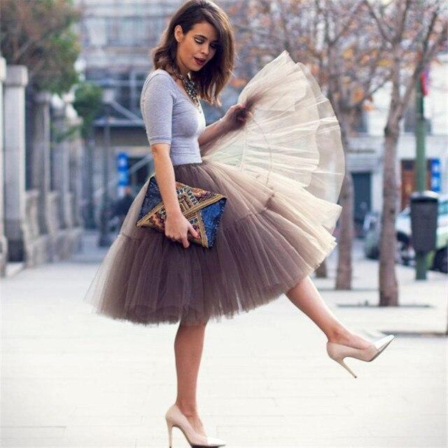 Petticoat 5 Layers 60cm Tutu Tulle Skirt Vintage Midi Pleated Skirts Womens Lolita Bridesmaid Wedding faldas Mujer saias jupe 2