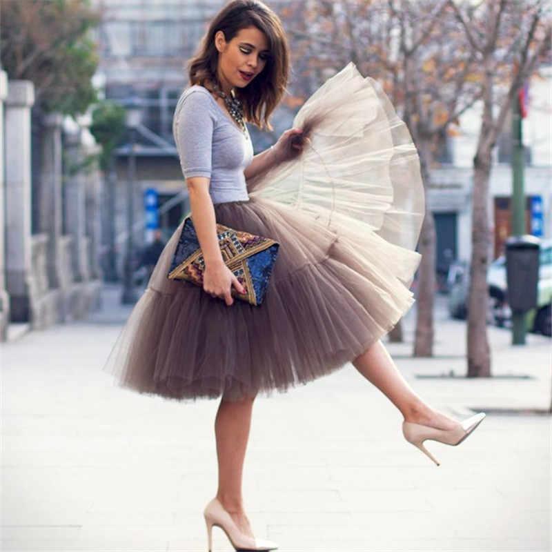 417c7d41229 ... Petticoat 5 Layers 60cm Tutu Tulle Skirt Vintage Midi Pleated Skirts  Womens Lolita Bridesmaid Wedding faldas ...