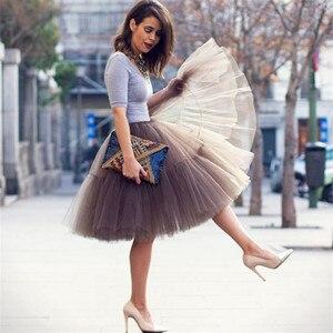 Image 2 - Petticoat 5 kat 60cm Tutu tül etek Vintage Midi pilili etekler bayan Lolita nedime düğün faldas Mujer saias jupe