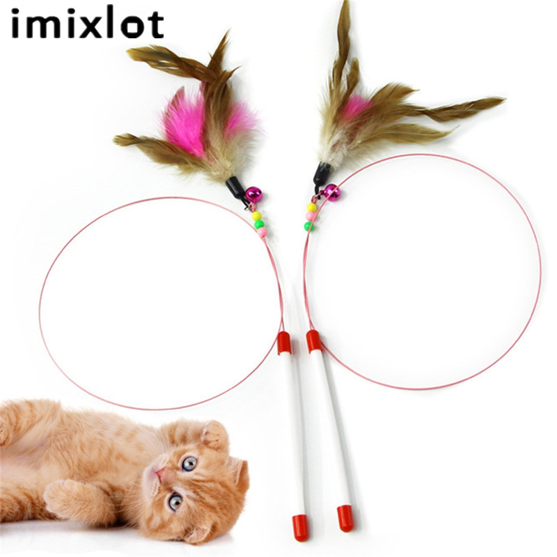 Imixlot 95cm Fishing Cats Sticks Stretchable Fishing Rods Cats Trainning Toys Funny Interactive Training Toys Pet Supplies image