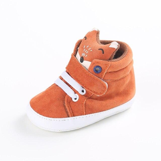 5bf63221084d3 Hiver bébé garçon fille chaussures Coton Tissu enfant Renard tête dentelle  premier marcheur Espadrille de Toile