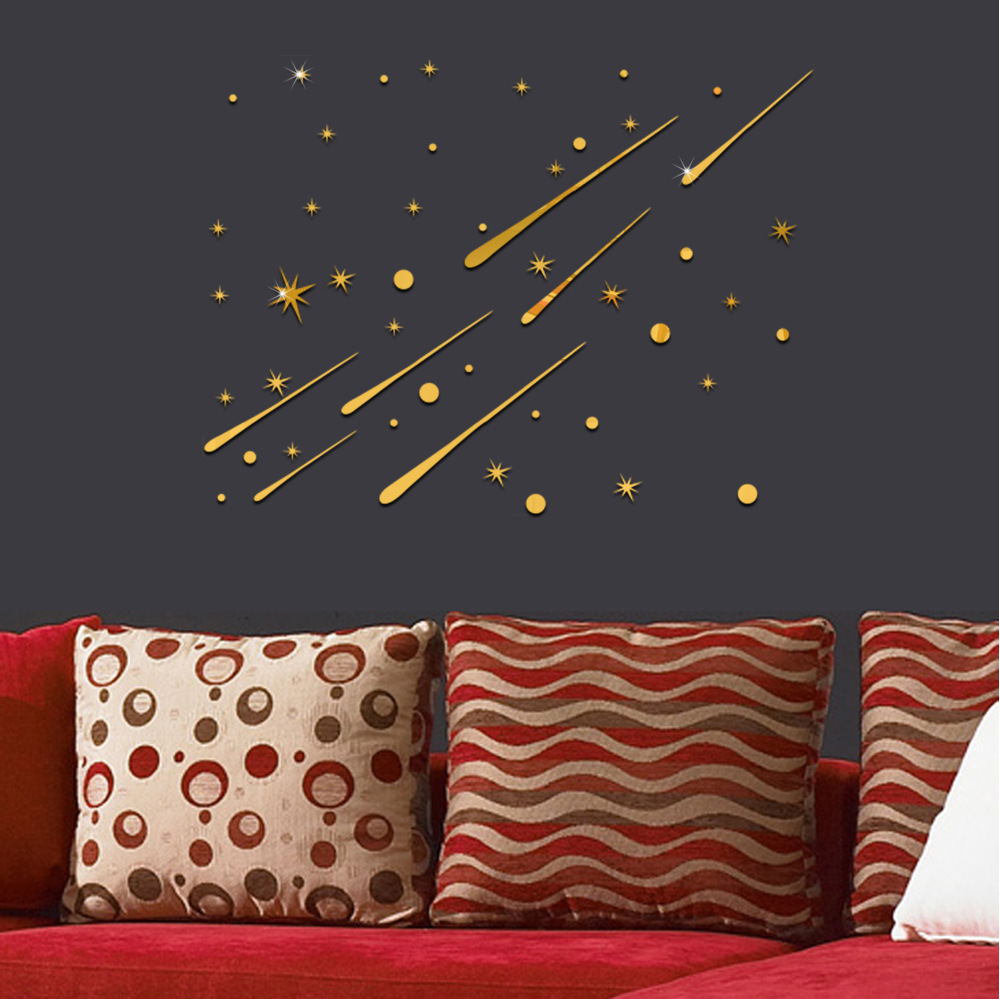 Meteor Ceiling Mirror Decorative Stickers Mirror Surface Wall - Wall decals mirror