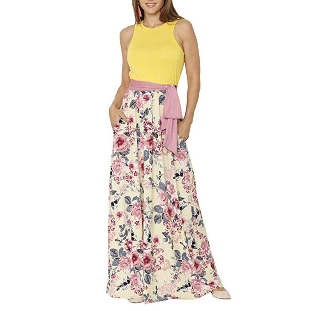 FREE OSTRICH Dress Women Sleeveless Stitching Print Loose Party Straight O-neck Yellow  Dignified Noble Novel Long Dress Summer