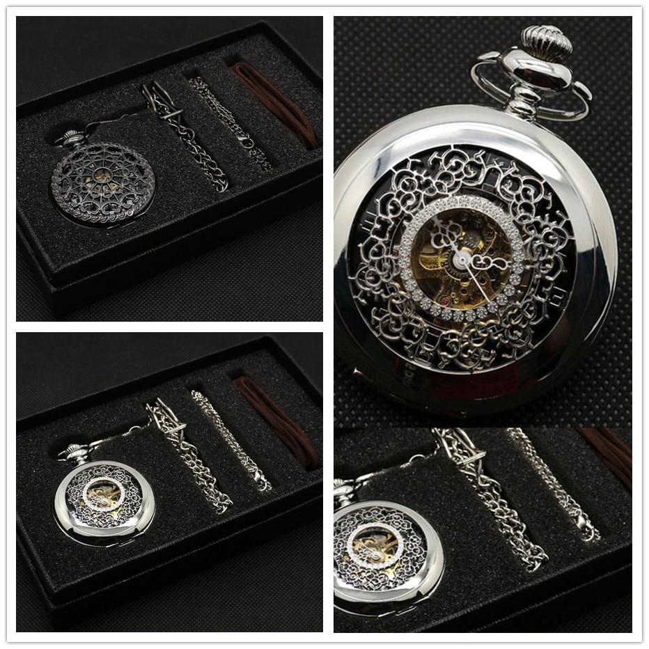 Fashion Hollow Flower Silver Hand Winding Mechanical Pocket Watch Mens Womens Box Bag 1