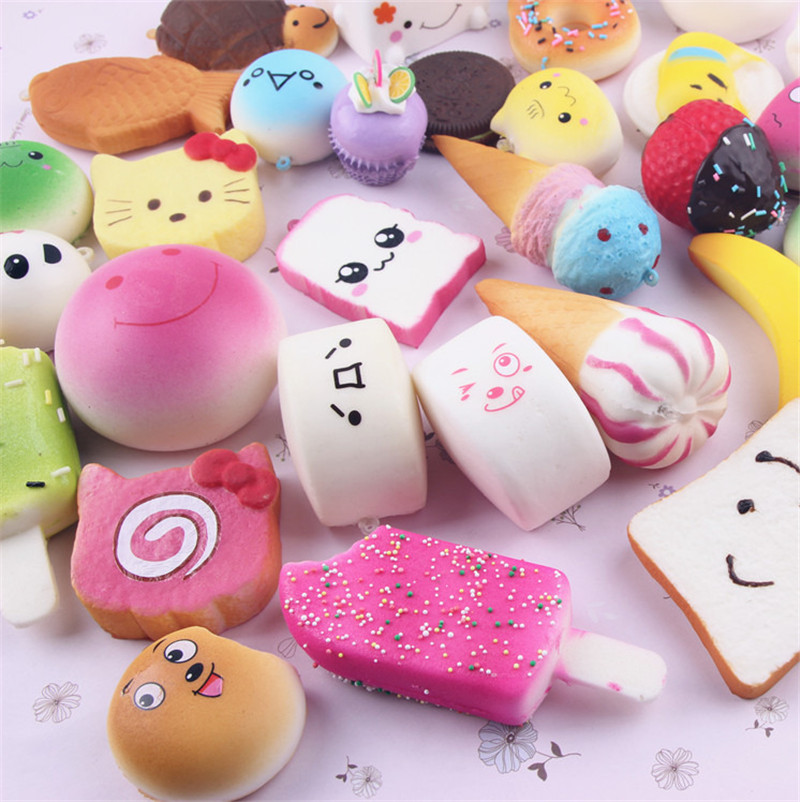 Jumbo Bread Cake Bun Pendant Squeeze Slow Rising Kawaii Donut Charm Stretchy Squeeze Cream Scented Cute Strap Toy 10 Pcs Random With A Long Standing Reputation Novelty & Gag Toys Toys & Hobbies