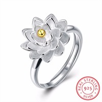 Lotus Flowers Shape 100 925 Sterling Silver Rings For Women Opening Adjustable Ring For Banquet Party