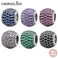 Choruslove Pave Lights Charm with CZ 925 Sterling Silver Bead Fits Pandora Charms DIY Bracelet Jewelry Making