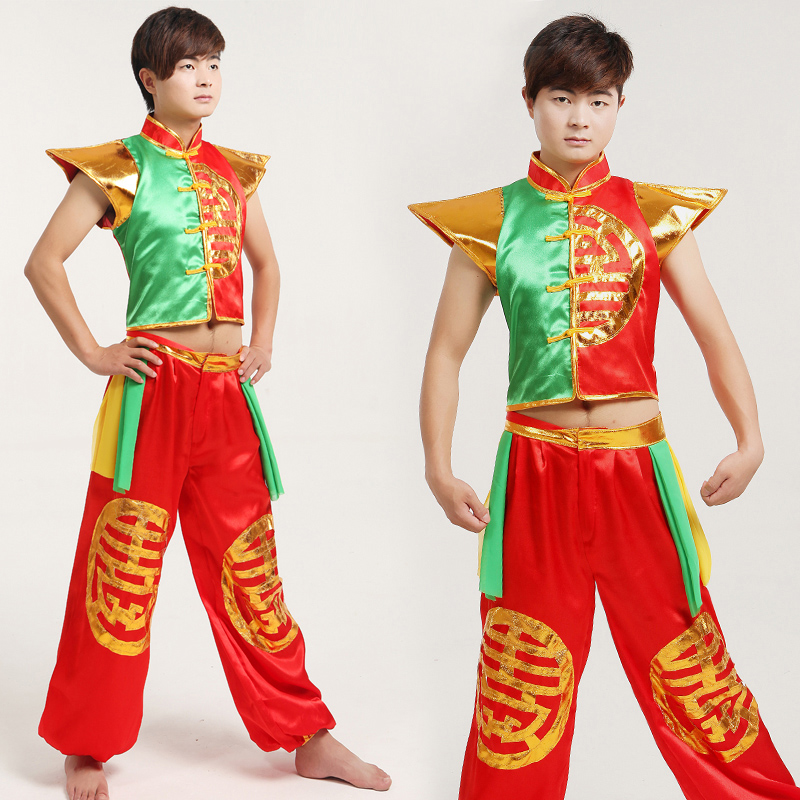 2017 Hmong Clothes Adult Drum Costume Male Younger Modern Dance Chinese Folk Costumes Spring Festival Stage Performance Clohtes