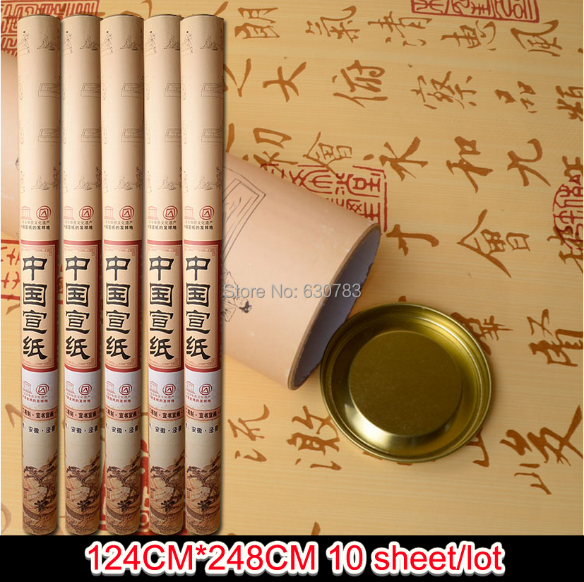 free shipping 10pcs/lot 124*248cm hand-made chinese xuan paper / rice paper for calligraphy and sumi-e painting free shipping 100 pieces lot 7 colors hand made chinese rice paper for painting and decoupage 64 135cm xuan paper
