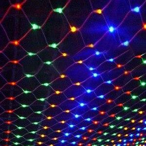 Image 1 - Tira de luces LED de red de 1,5x1,5 m decoración navideña, guirnalda de luces de hadas para exteriores, hogar, cortina de malla de boda, luces de jardín, 8 modos