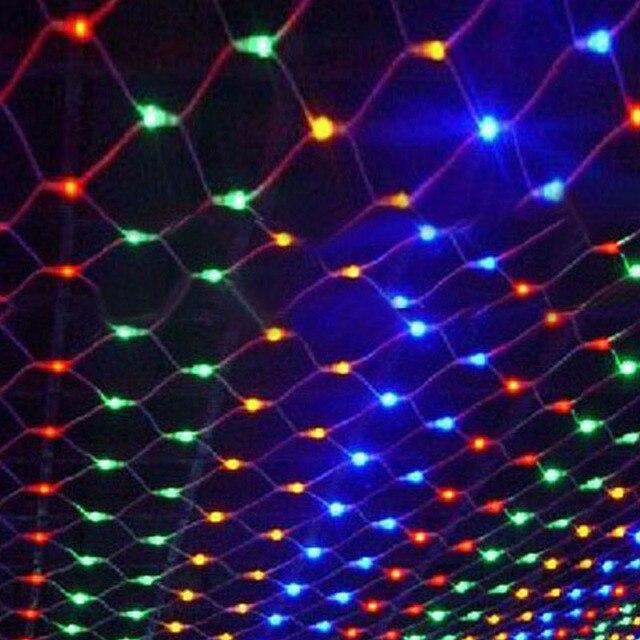 Tira de luces LED de red de 1,5x1,5 m decoración navideña, guirnalda de luces de hadas para exteriores, hogar, cortina de malla de boda, luces de jardín, 8 modos