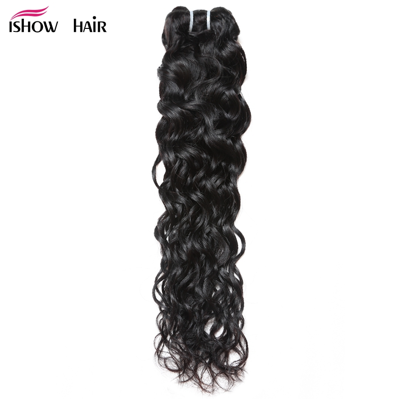 Ishow Peruvian Water Wave Human Hair Weave Bundles 1pc Natural Black Non Remy Hair Extensions Full Head Need 3 Or 4 Bundles