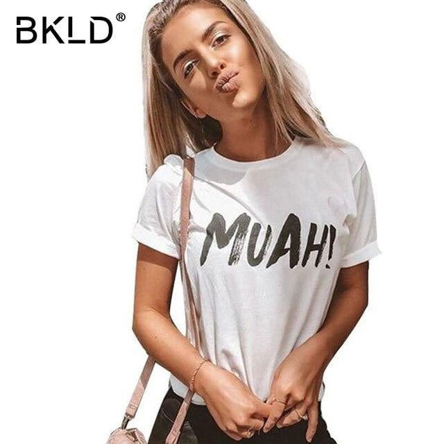 43b69cb698d74 BKLD 2018 Fashion Summer Tshirt Women MUAH Print T-shirt Women Tops Tee  Shirt Femme