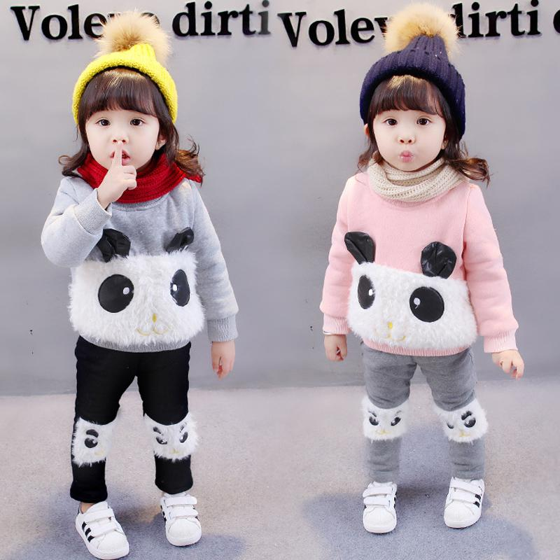 2018 Baby Winter Thick Warm Clothing Set Printed Bear Girls Clothes Cartoon Casual Cotton Hoodies +Pants Kids Suits Thicken korean baby girls parkas 2017 winter children clothing thick outerwear casual coats kids clothes thicken cotton padded warm coat