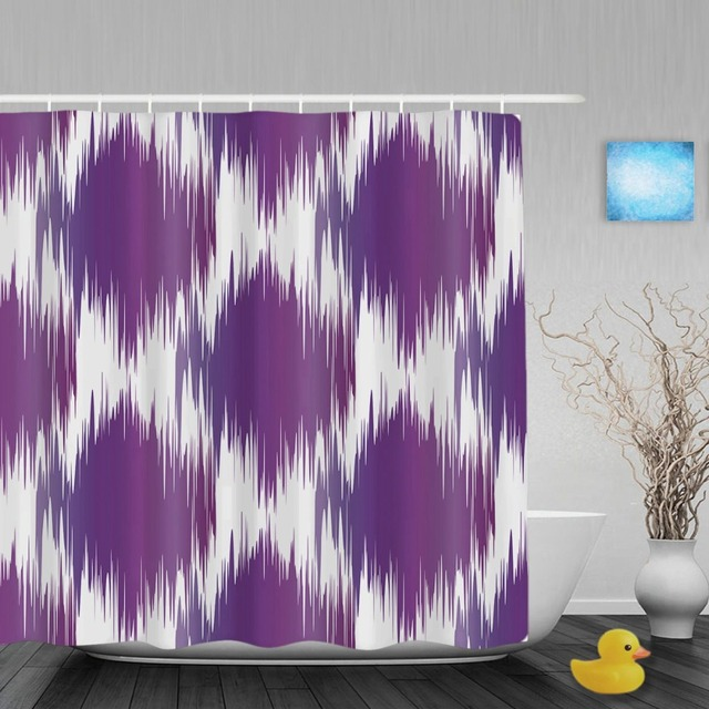 Geometric Shapes Bathroom Shower Curtain Abstract Art Pattern Decor Curtains Waterproof Mildew Polyester Fabric Hooks