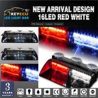 KEYECU 2ชิ้น16LEDสีแดง+สีขาว16วัตต์กระจกฉุกเฉินแฟลชแสงแฟลชมหาดไทยรีบสำหรับกระจกหน้ารถสามารถปรับม...