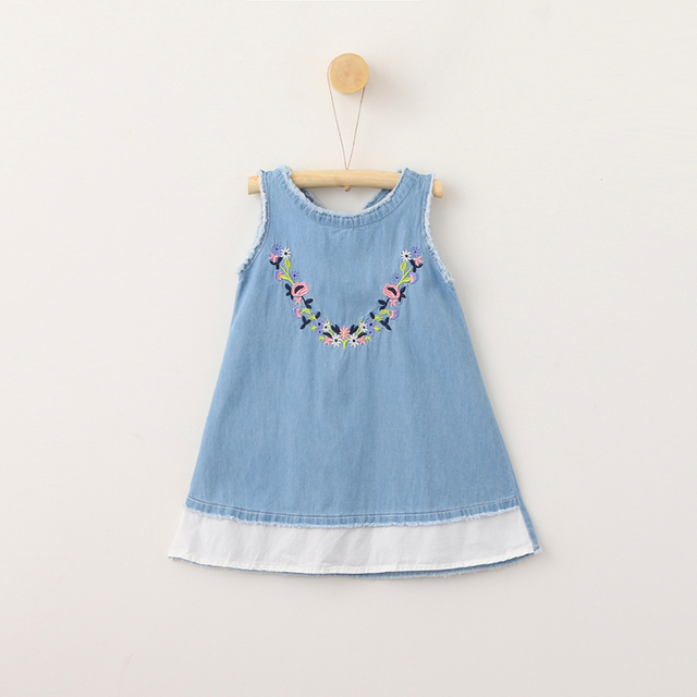 New Kids Baby Embroidery Vest Back Ribbon Bow Jean Dresses ... 0feb5c089569