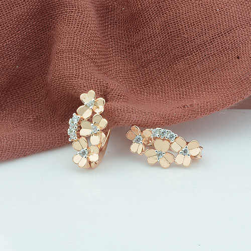 FJ 7mm Women Multi Flowers Shaped 585 Rose Gold Color Women Drop Earrings