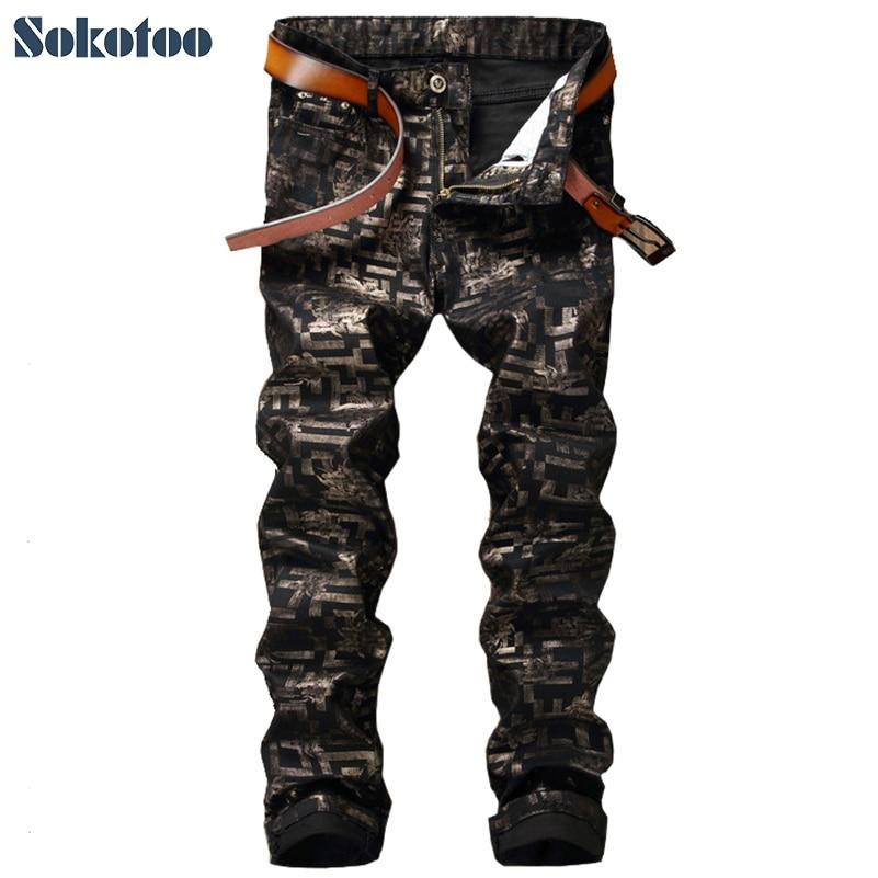 Sokotoo Men's fashion flower print jeans Male casual black denim pants Long trousers men denim cargo pants pocket fashion leisure jeans male fashion casual jeans trousers