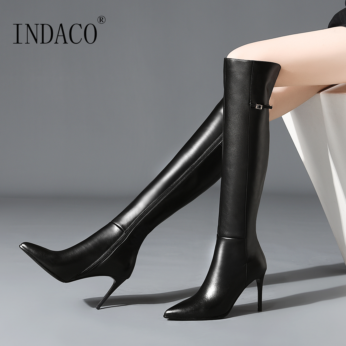 Over the Knee Boots Leather Winter Boots Women Knee High Boots Fashion Thigh High Boots Sexy Botas Mujer Invierno 8.5cm