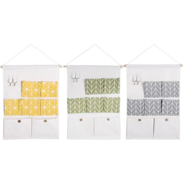7 Pockets Cotton Linen Wall Hanging Storage Bags Door Pouch Bedroom  Wall Hanging Home Office Organizer