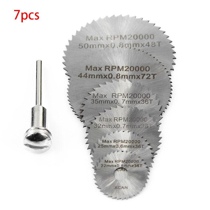 7Pcs Dremel Accessories Rotary Tool Circular Saw Blades Cutting Discs for Mini Drill Wood Cutting Power Tool 22/25/32/35/44/50mm 1