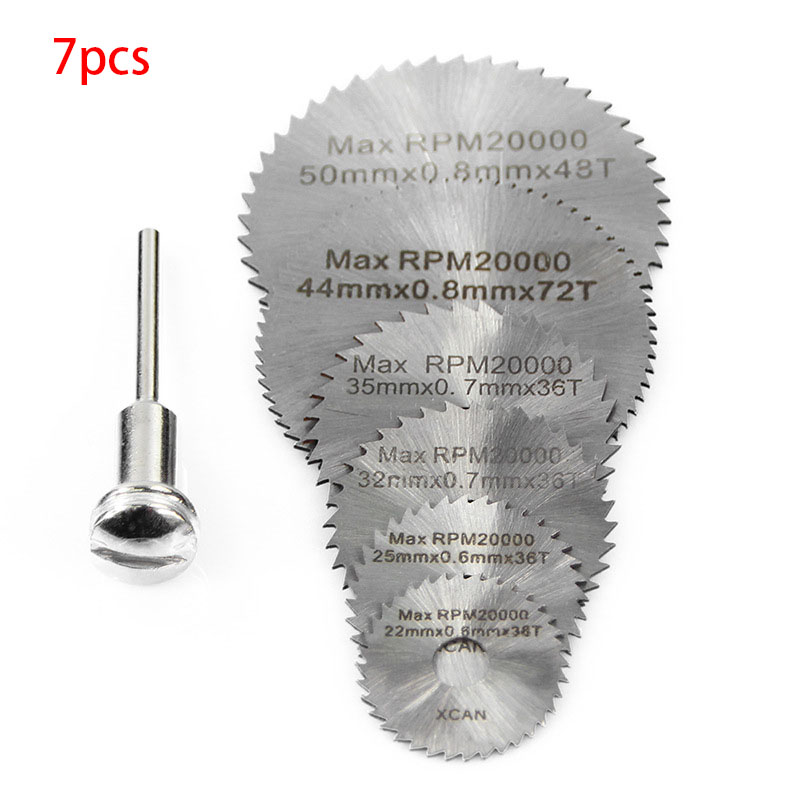 7Pcs Dremel Accessories Rotary Tool Circular Saw Blades Cutting Discs For Mini Drill Wood Cutting Power Tool 22/25/32/35/44/50mm