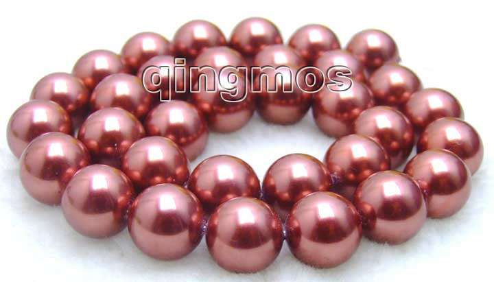 SALE 12mm Round Wine Red AAA GRADE shell PEARL beads strands 15-los358 Wholesale/retail Free shipping