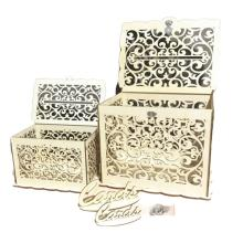 Высокое качество DIY деревянный полый ящик для хранения букв маленькие футляры для подарка свадебные карты с замком для свадебных вечеринок